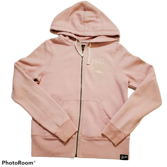 Roots Outfitters pink zip up hoodie size medium